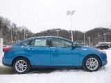 2015 Blue Candy Metallic Ford Focus SE Sedan #101567533