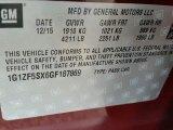 2016 Chevrolet Malibu LT Info Tag