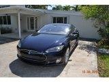 Blue Metallic Tesla Model S in 2013