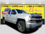 2017 Silver Ice Metallic Chevrolet Silverado 1500 Custom Double Cab 4x4 #116944356
