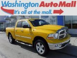 2009 Detonator Yellow Dodge Ram 1500 Big Horn Edition Quad Cab 4x4 #119199328