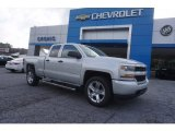 2017 Silver Ice Metallic Chevrolet Silverado 1500 Custom Double Cab #120660208