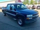 2002 Indigo Blue Metallic Chevrolet Silverado 1500 LS Crew Cab 4x4 #123342698