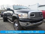 2007 Brilliant Black Crystal Pearl Dodge Ram 3500 Big Horn Quad Cab 4x4 Dually #125140105