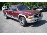 2003 Dark Garnet Red Pearl Dodge Dakota SLT Quad Cab #12685150
