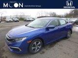 2019 Agean Blue Metallic Honda Civic LX Sedan #130656709
