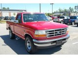 Bright Red Ford F150 in 1996