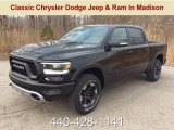 2019 Diamond Black Crystal Pearl Ram 1500 Rebel Crew Cab 4x4 #132581449