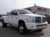 2008 Bright White Dodge Ram 3500 Laramie Quad Cab 4x4 Dually #13674612