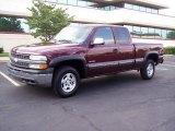 2000 Dark Carmine Red Metallic Chevrolet Silverado 1500 LS Extended Cab 4x4 #15126883