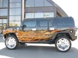2006 Hummer H2 Black/Custom Flames