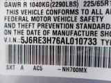 2010 CR-V Color Code for Alabaster Silver Metallic - Color Code: NH700MX