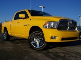 2009 Detonator Yellow Dodge Ram 1500 Sport Quad Cab 4x4 #24588061