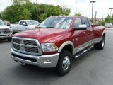2010 Inferno Red Crystal Pearl Dodge Ram 3500 Laramie Crew Cab 4x4 Dually #30617182
