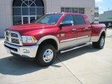 2010 Inferno Red Crystal Pearl Dodge Ram 3500 Laramie Mega Cab 4x4 Dually #30722830