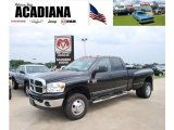 2007 Brilliant Black Crystal Pearl Dodge Ram 3500 Lone Star Quad Cab 4x4 Dually #34923715