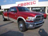 2010 Inferno Red Crystal Pearl Dodge Ram 3500 Laramie Crew Cab 4x4 Dually #35788862