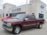 2002 Dark Carmine Red Metallic Chevrolet Silverado 1500 LS Extended Cab 4x4 #36193309