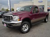 2004 Dark Toreador Red Metallic Ford F250 Super Duty Lariat Crew Cab 4x4 #36547299
