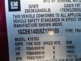 2008 Chevrolet Silverado 1500 LT Regular Cab 4x4 Info Tag