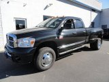 2007 Brilliant Black Crystal Pearl Dodge Ram 3500 Laramie Quad Cab 4x4 Dually #39123115