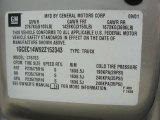 2002 Chevrolet Silverado 1500 Work Truck Regular Cab Info Tag