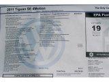 2011 Volkswagen Tiguan SE 4Motion Window Sticker