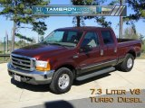 2000 Dark Toreador Red Metallic Ford F250 Super Duty Lariat Crew Cab #41068648