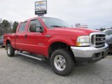 2004 Red Ford F250 Super Duty Lariat Crew Cab 4x4 #41791117