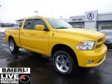 2009 Detonator Yellow Dodge Ram 1500 Sport Quad Cab 4x4 #43254080
