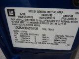 2004 Chevrolet Silverado 1500 Regular Cab Info Tag