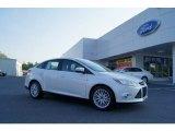 2012 White Platinum Tricoat Metallic Ford Focus SEL Sedan #49992105