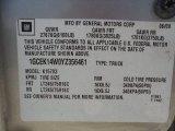 2000 Chevrolet Silverado 1500 Regular Cab 4x4 Info Tag