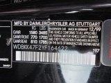 2000 SLK Color Code for Obsidian Black Metallic - Color Code: 197