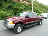 2000 Dark Toreador Red Metallic Ford F250 Super Duty Lariat Crew Cab 4x4 #51825054