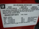 2003 Chevrolet Silverado 3500 LT Crew Cab 4x4 Dually Info Tag