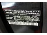 2006 Chrysler Crossfire Limited Roadster Info Tag