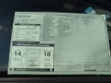 2012 Toyota Tundra SR5 Double Cab Window Sticker