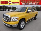 2008 Detonator Yellow Dodge Ram 1500 Big Horn Edition Quad Cab #57696211