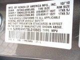 2011 CR-V Color Code for Urban Titanium Metallic - Color Code: YR578M