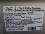 2012 Ford Focus Titanium Sedan Info Tag