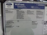 2012 Ford Mustang C/S California Special Coupe Window Sticker