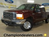 2000 Dark Toreador Red Metallic Ford F250 Super Duty XLT Extended Cab #59168575