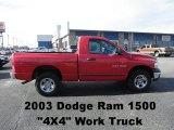 2003 Flame Red Dodge Ram 1500 ST Regular Cab 4x4 #60328879