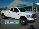 2008 Bright White Dodge Ram 3500 Big Horn Edition Quad Cab 4x4 Dually #60328728