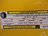 2012 Dodge Challenger SRT8 Yellow Jacket Info Tag