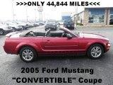 2005 Redfire Metallic Ford Mustang V6 Premium Convertible #64353309