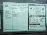 2012 Nissan Frontier SV Crew Cab 4x4 Window Sticker