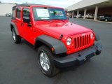 2012 Flame Red Jeep Wrangler Unlimited Sport S 4x4 #64664456