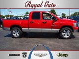 2007 Flame Red Dodge Ram 1500 SLT Quad Cab 4x4 #66121780